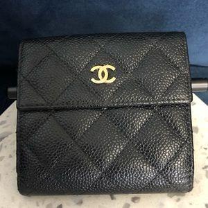 Chanel Black Caviar Classic S-Double Wallet